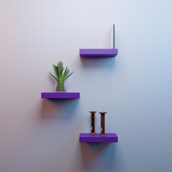 Onlineshoppee MDF Floating Wall Shelves Set of 3 Racks Shelves (12x7x1.5)Inch - Purple