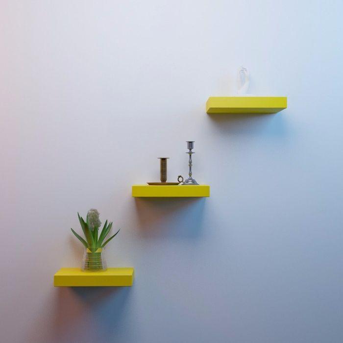 Onlineshoppee MDF Floating Wall Shelves Set of 3 Racks Shelves (12x7x1.5)Inch - Yellow