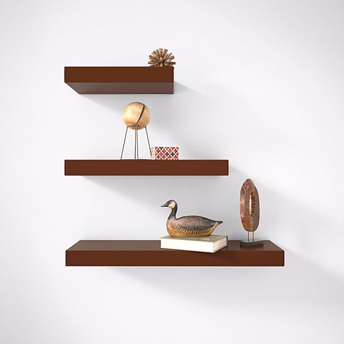 Onlineshoppee MDF Floating Wall Shelves Set of 3 Racks Shelf - Brown