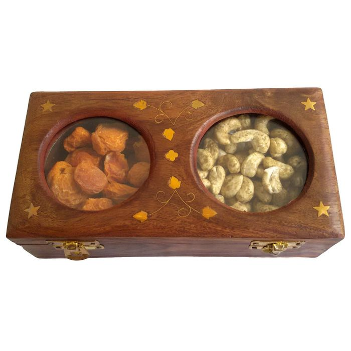 Onlineshoppee Wooden Dry Fruit Box with 2 Steel Bowls