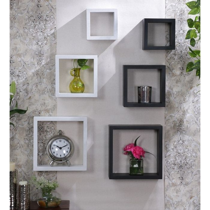 Onlineshoppee Flotante MDF Wall Shelf  White & Black