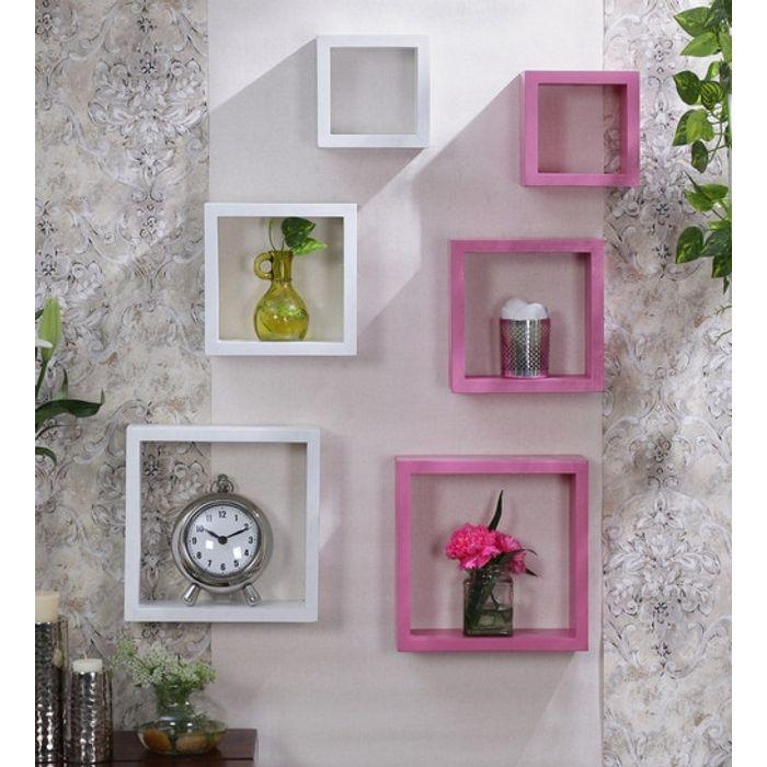 Onlineshoppee Flotante MDF Wall Shelf  White & Pink