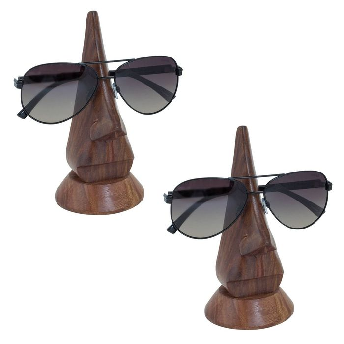 Pair of Handmade Wooden Nose Shaped Specs Stand Spectacle Holder