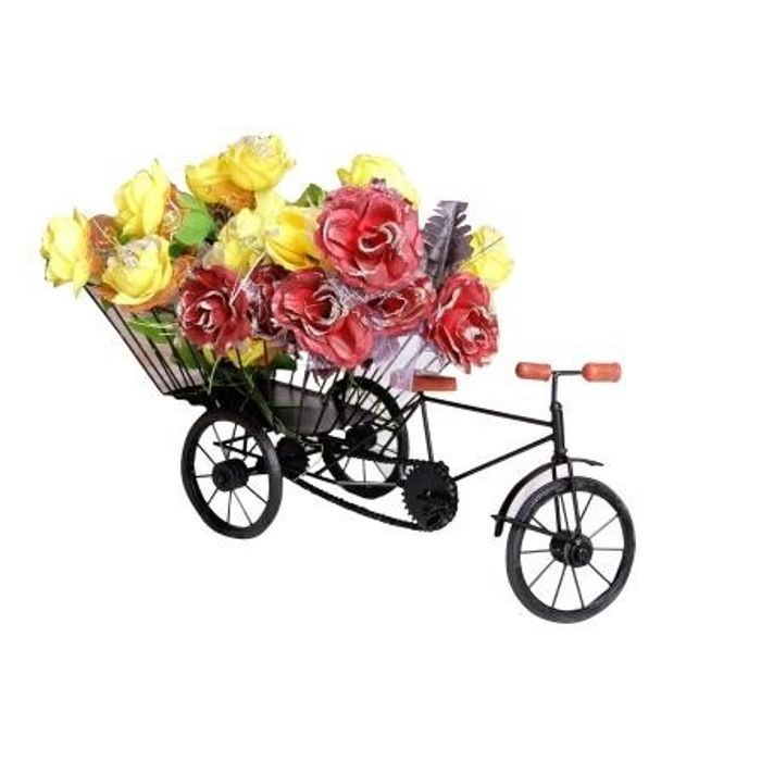 Wooden and Iron Big Flower Stand, Fruits Stand, Miniature Rickshaw