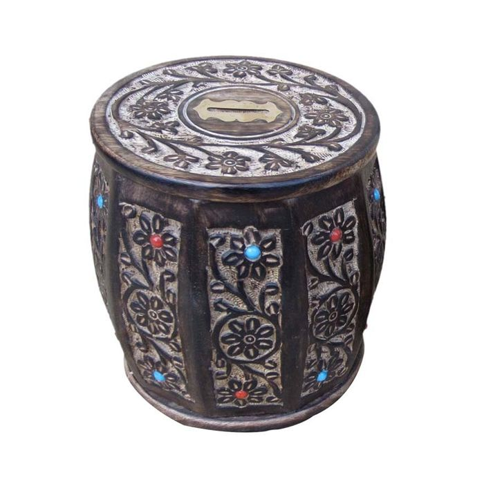 Onlineshoppee Wooden Antique type of Brown Barrel Coin Box