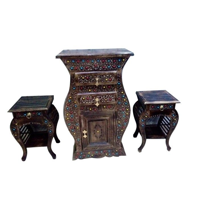 Onlineshoppee Combo of Wooden Hand Carved Cabinet and SideTable With Beautifully Design