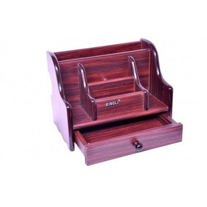 Onlineshoppee Big Wooden Pen Stand Office Stationery and Mobile Holder With Drawer