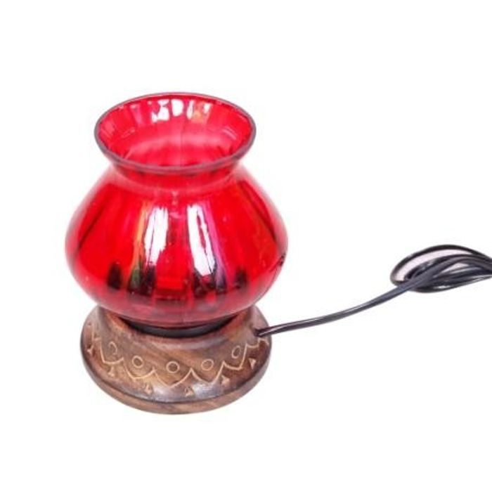 Wooden & Iron Hand Carved Colored Electric Chimney Lamp Design  Red