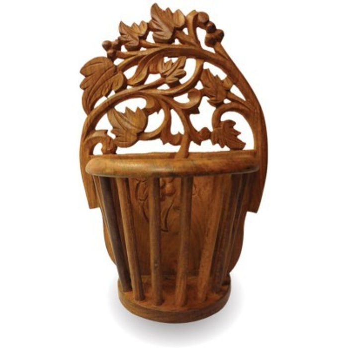 Onlineshoppee Beautiful Wooden Antique Hand Carved Wall Hanging Flower Wooden 10 inch Vase