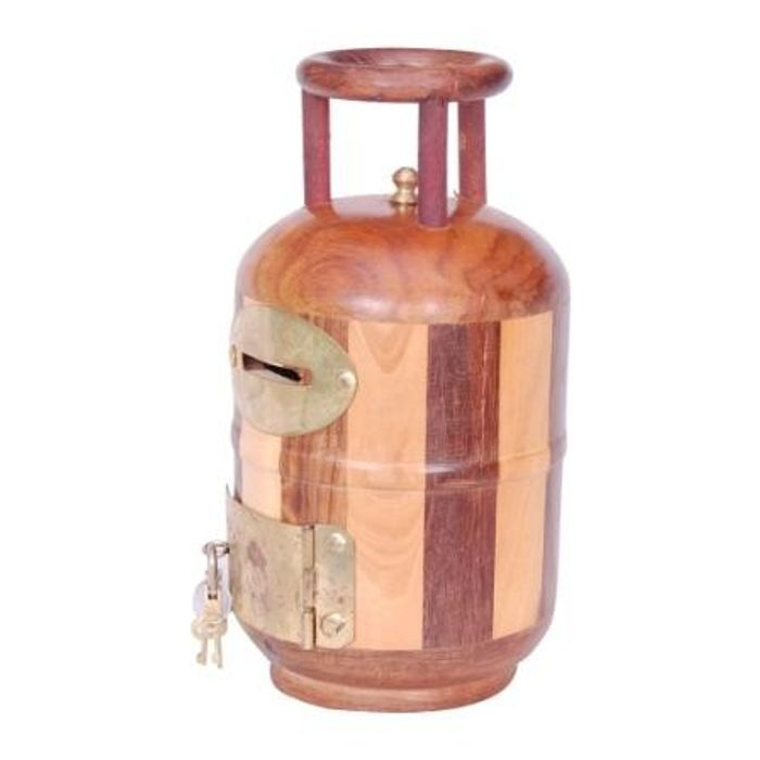Onlineshoppee Wooden Money Bank Cylinder Shape