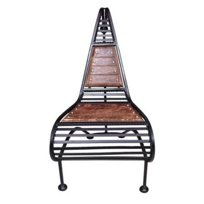 Wooden And Wrought Iron Chair In Classic Design