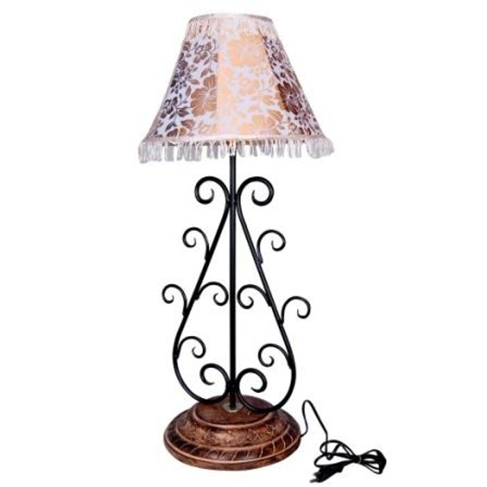 Onlineshoppee Beautiful Wooden & Iron Table Lamp - Big