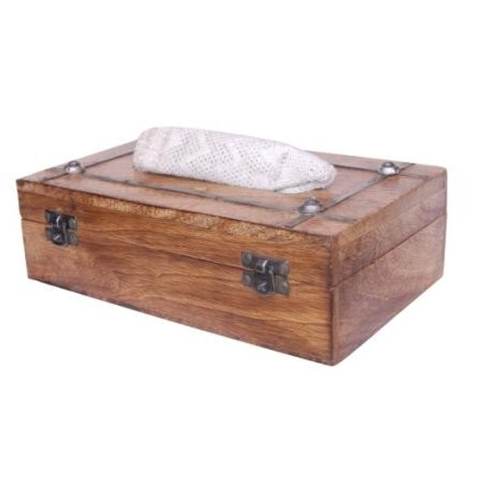 Onlineshoppee Wooden Antique Rusted Look Handcrafted Tissue Box