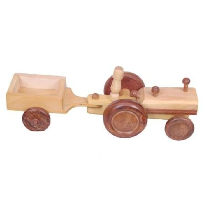 Onlineshoppee Wooden Toy Tractor With Trolly