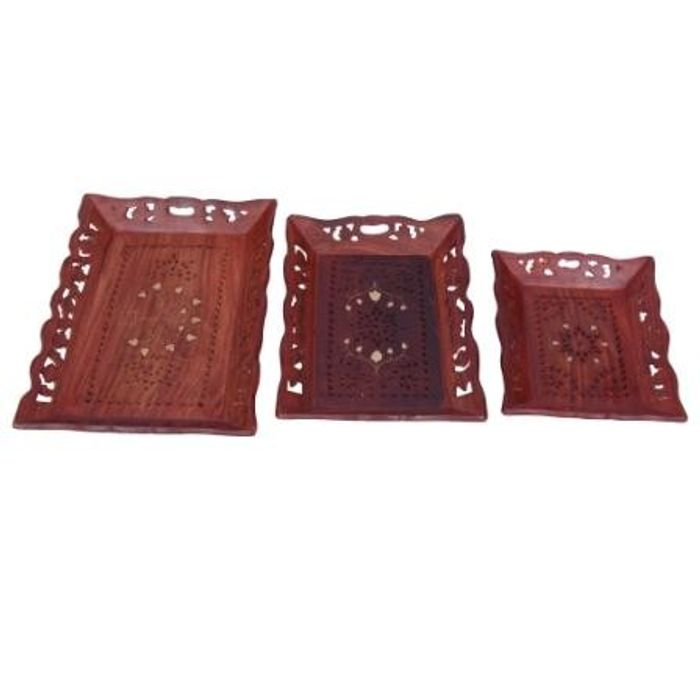 Wooden Premium Quality Serving Tray With Hand Carved Design Set of 3