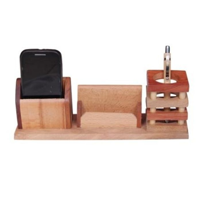 Onlineshoppee Beautiful Multipurpose Wooden Pen,Mobile and Visiting Card holder