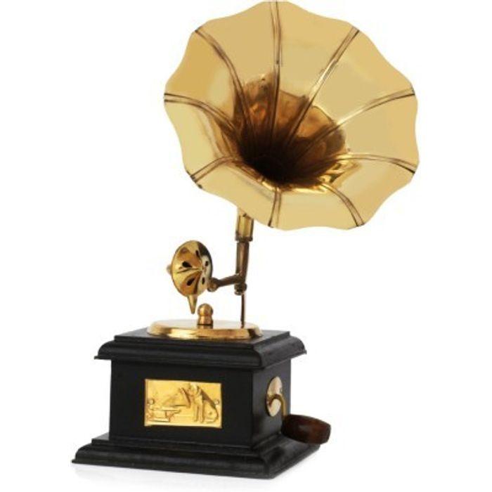 Onlineshoppee Handmade Wooden Vintage Gramophone Brass Showpiece 9 Inch Height