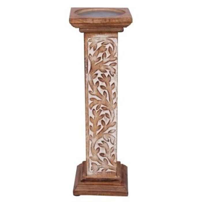 Onlineshoppee Wooden Antique Rusted Look Candle Holder With Handicraft Design