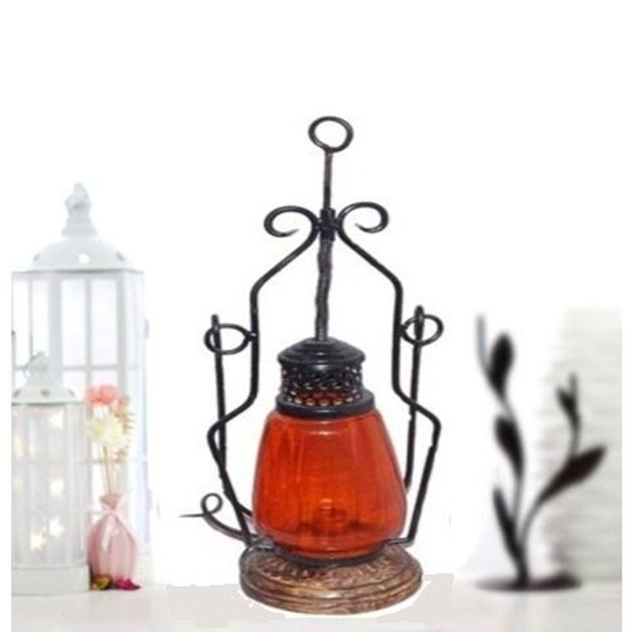 Onlineshoppee Orange Cast Iron, Glass, Wooden Lantern