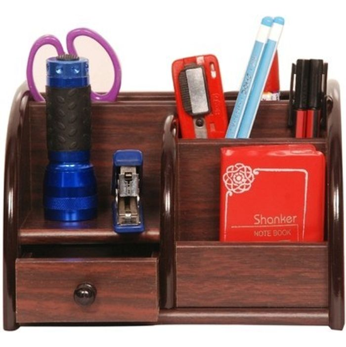 Onlineshoppee Wood Pen Stand Office Stationery Holder