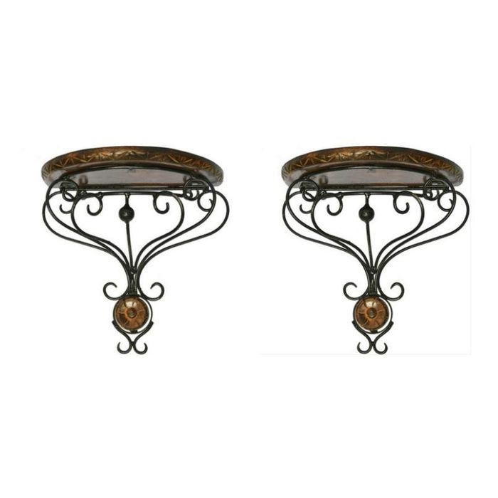Onlineshoppee Wooden & Wrought Iron Wall Bracket D-Shape Pack of 2