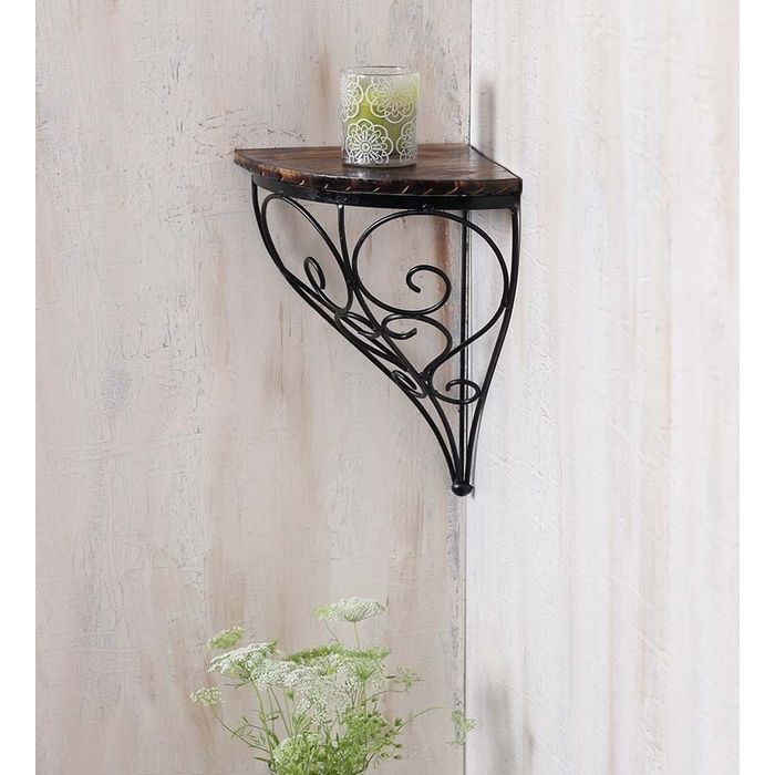 Onlineshoppee Home Decor Wall Hanging Fancy Bracket Wooden, Iron Wall Shelf