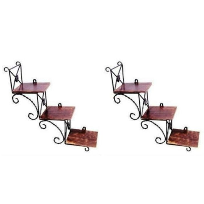 Onlineshoppee Beautiful Wooden Wall Hanging Shelve a unique Wall Art in stair Shape Set of 2