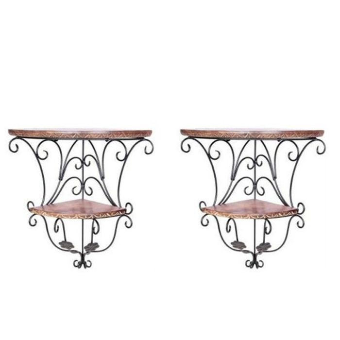 Onlineshoppee Home Decor Wall Hanging Fancy Double Bracket Wooden, Iron Wall Shelf Set of 2