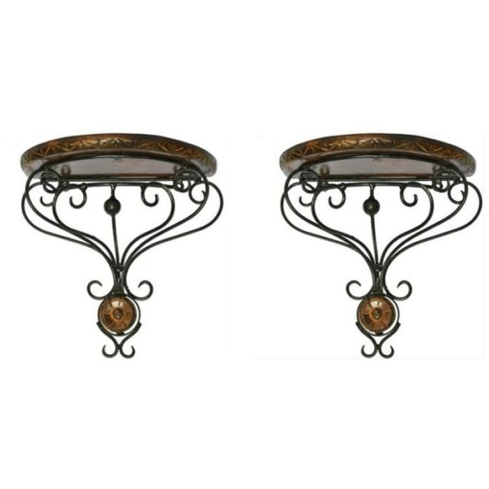 Onlineshoppee Beautiful Wooden Decorative Corner Wall hanging Bracket Shelf/selves for Living room/Bed Room Decoration Set of 2