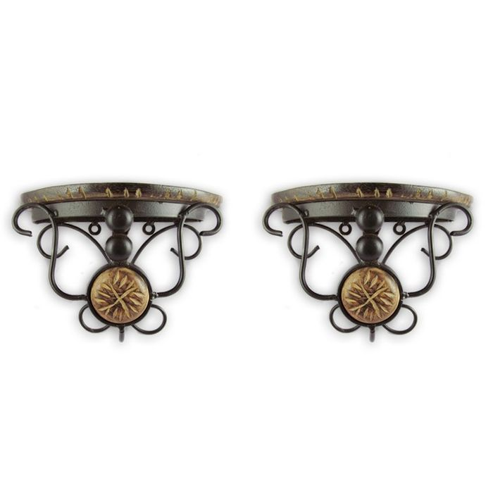 Onlineshoppee wood & wrought iron hand carved big  wall bracket set of 2