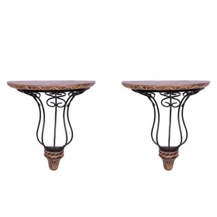 Wooden & Wrought Iron Wall Bracket  Size (11x6x12) Inch