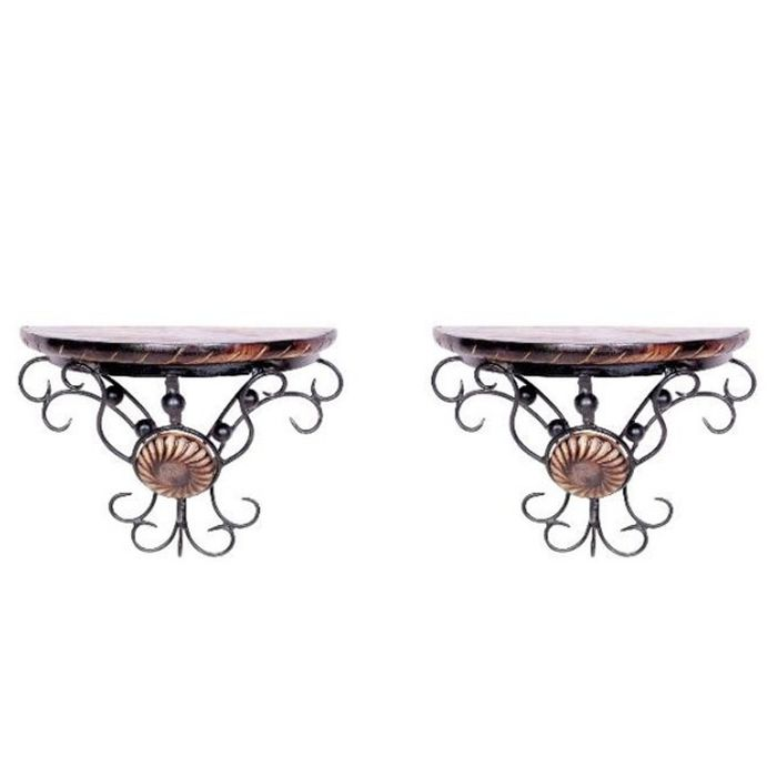 Onlineshoppee Wooden & Wrought Iron Wall Rack Bracket Shelf set of 2