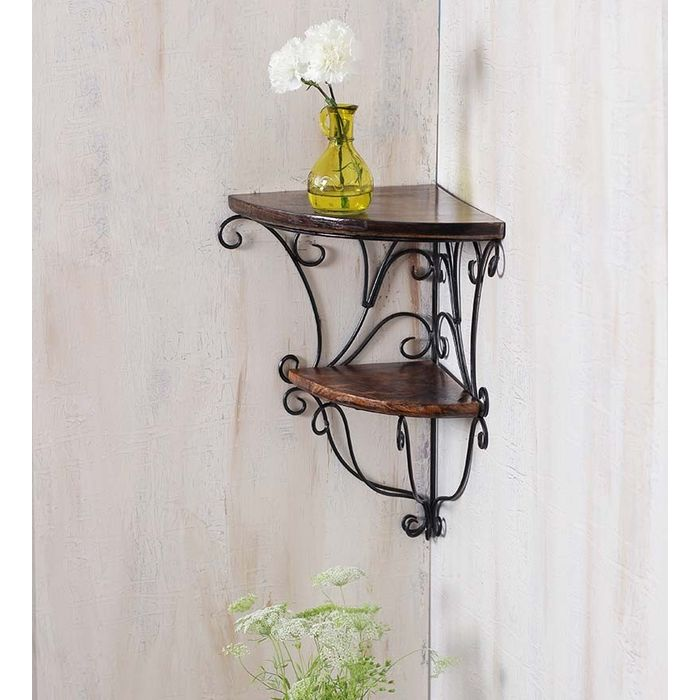Onlineshoppee Home Decor Wall Hanging Fancy Double Bracket Wooden, Iron Wall Shelf