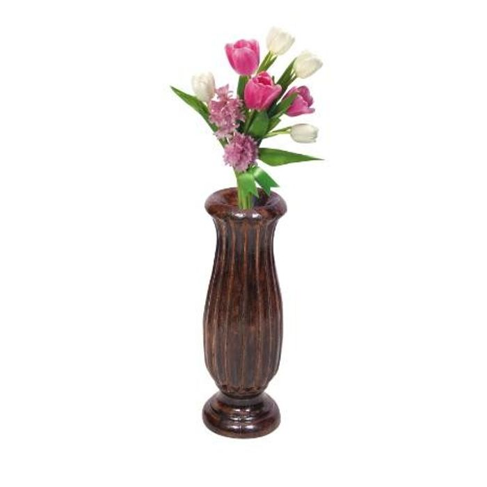 Onlineshoppee Wooden Antique Flower Vase With Hand Carved Design 10 inch
