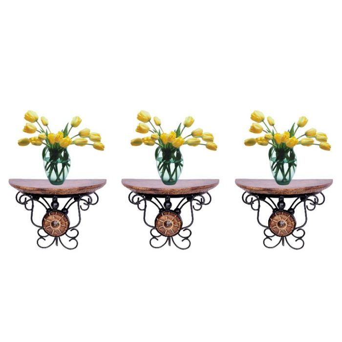 Onlineshoppee wood & wrought iron hand carved big  wall bracket Combo Pack of 3