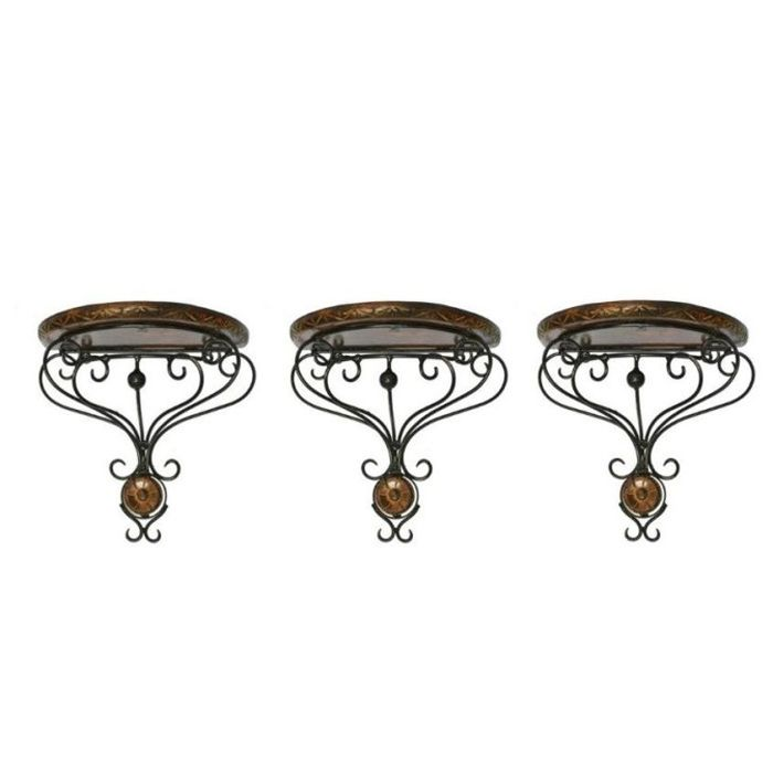 Onlineshoppee Wooden & Wrought Iron Wall Bracket D-Shape Combo Pack of 3