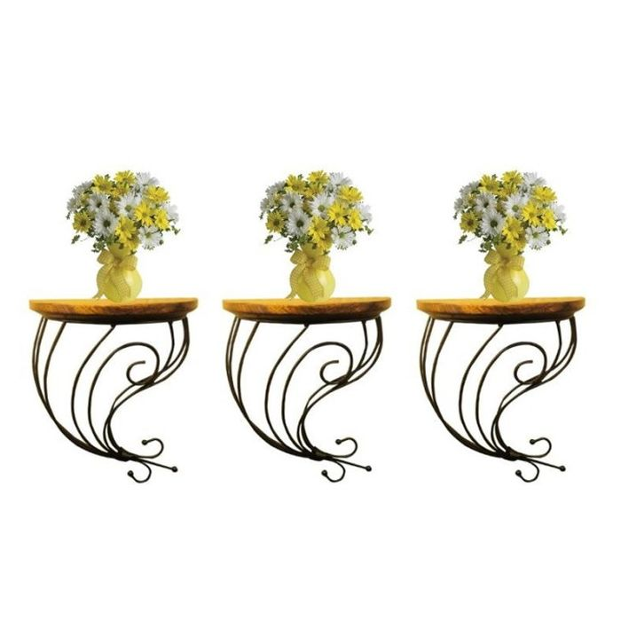 Onlineshoppee Wooden & Wrought Iron Wall Bracket Combo Pack of 3