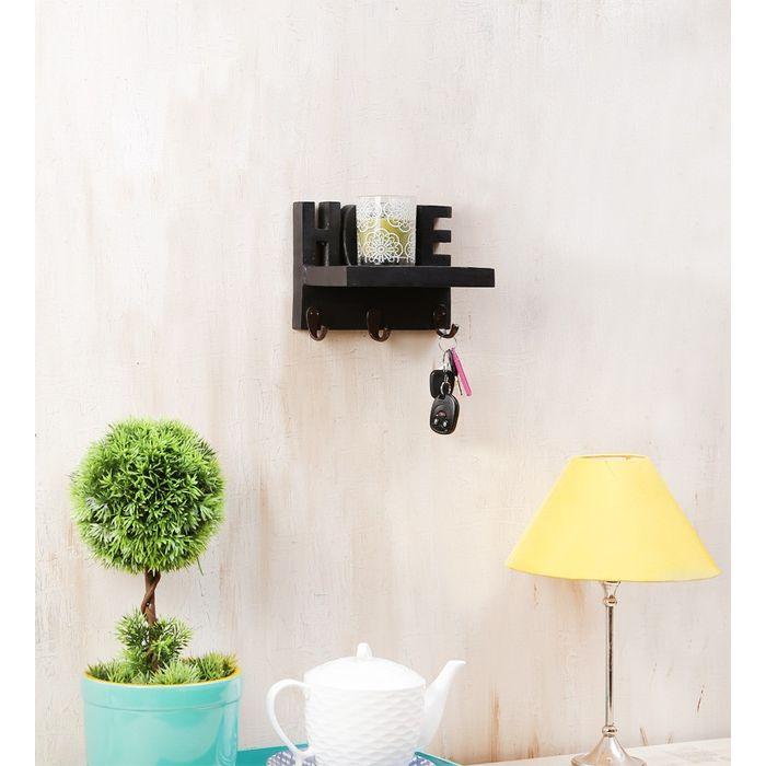 Onlineshoppee Wooden Handicraft Home Wall Shelf/Cloth Hanger With 3 Hooks Size-lxbxh-8x5x6 Inch