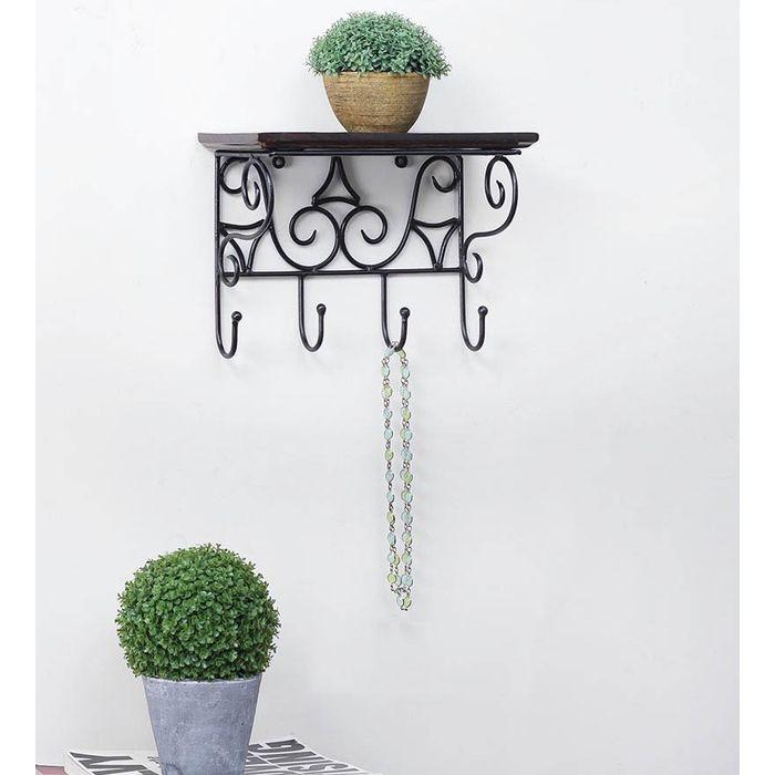 Wooden & Wrought Iron Premium Wall Bracket | Book Rack | Cloth Hanger