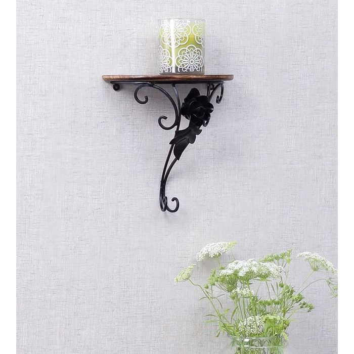 Onlineshoppee Wooden & Wrought Iron Wall Rack Bracket Shelf Fancy Design