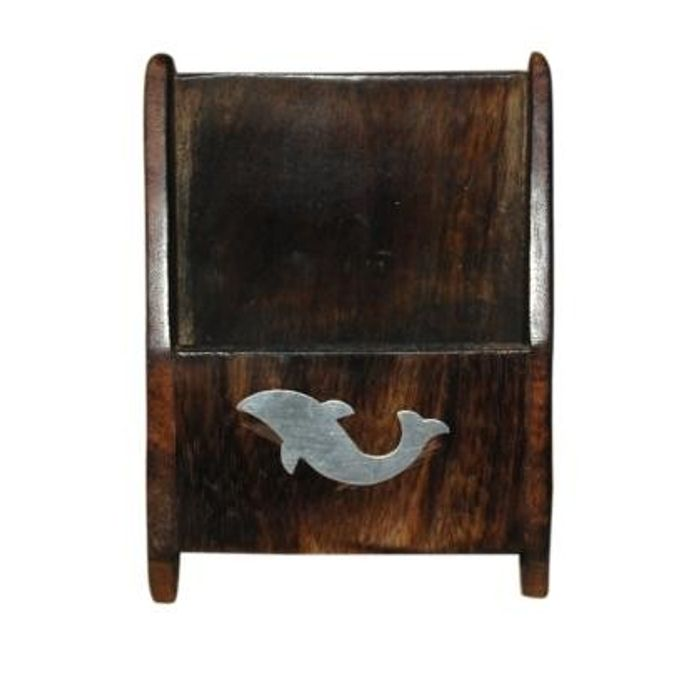 Antique Wooden Mobile Holder With Hand Carved Design