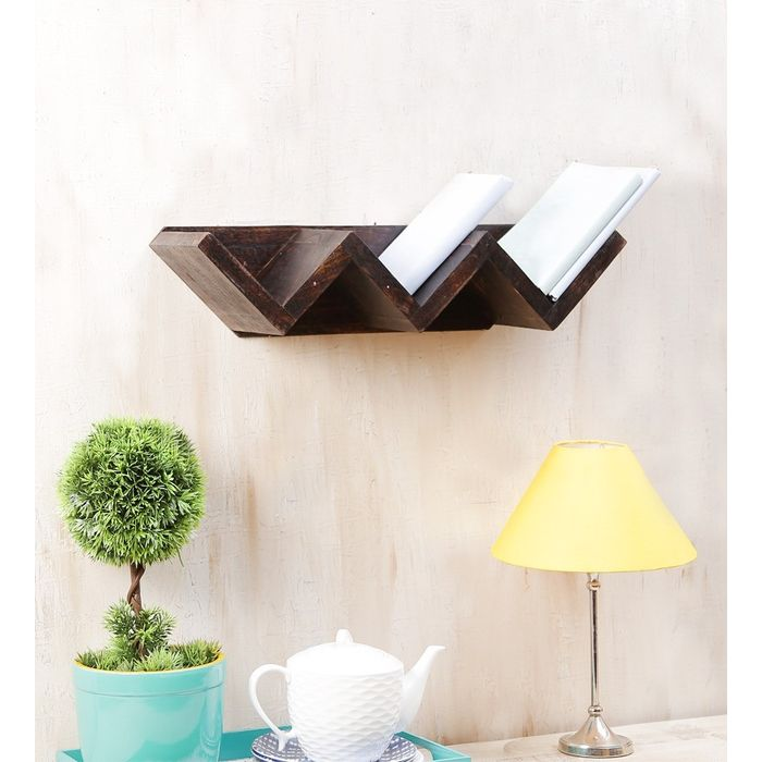 Onlineshoppee Wooden W Shaped Book Shelf