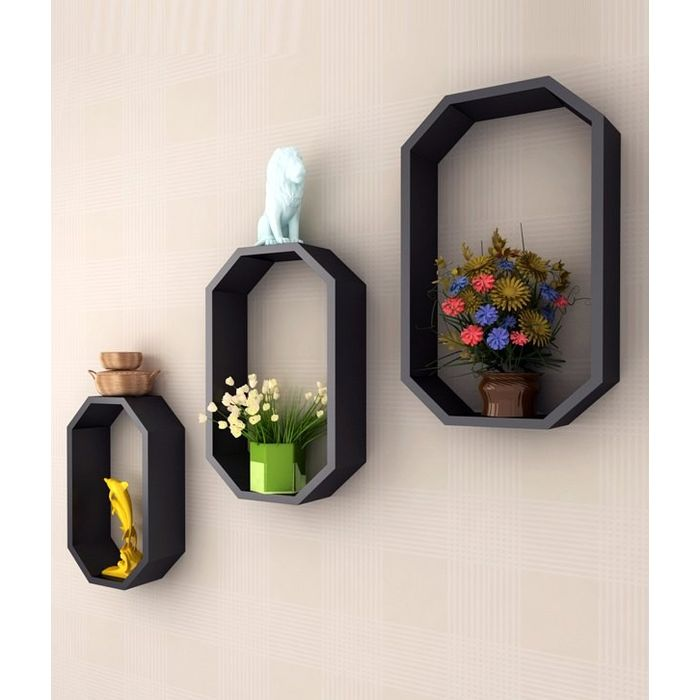Onlineshoppee Fancy 3 Pcs Octagon Shaped MDF Wall Shelf
