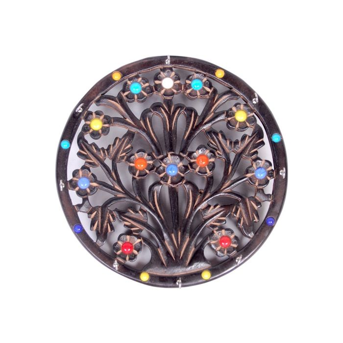 Onlineshoppee Wooden Key Holder In Round Shape With Handicraft Design Size (LxBxH-11x1x11) Inch