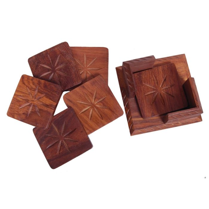 Onlineshoppee Wooden Tea Coaster With 6 Plates in Carving Design Size (LxBxH-4x4x2.5) Inch