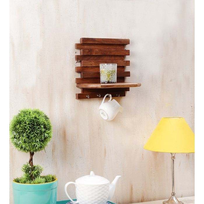 Onlineshoppee Beautiful Wooden Wall Rack With Key Holder Size (LxBxH-10x6x10) Inch