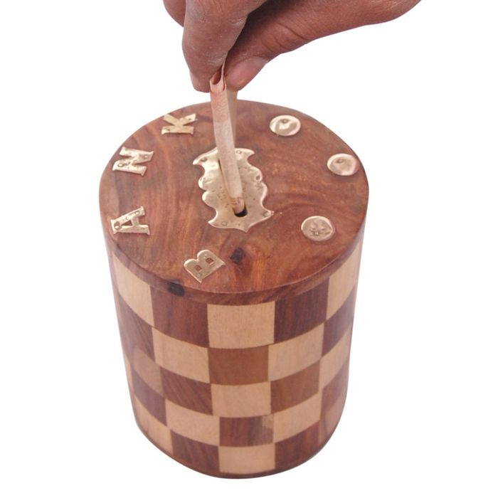 Onlineshoppee Antique Chase Design Wooden Money Bank Size (LxBxH-4x4x5) Inch
