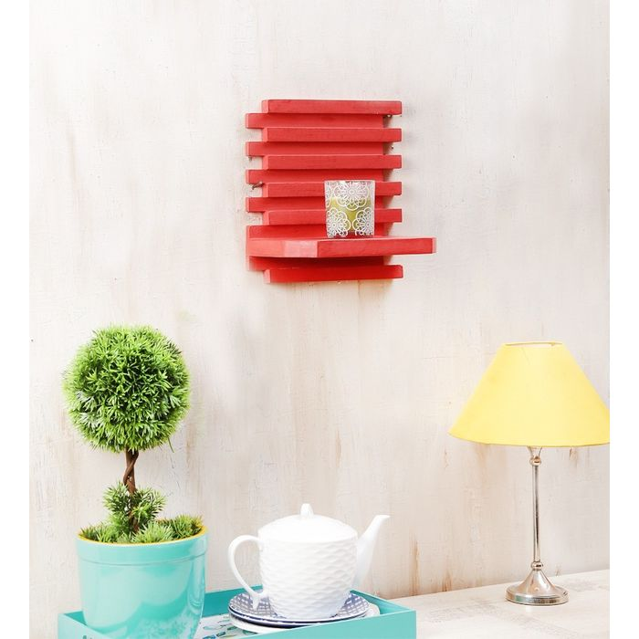 Onlineshoppee Beautiful Wooden Wall Rack Size (LxBxH-10x6x10) Inch,Color-Red