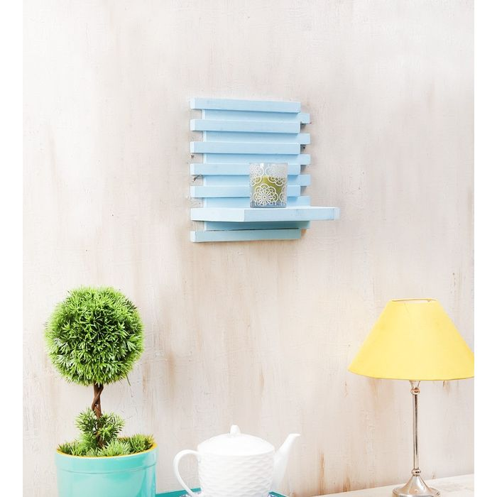 Onlineshoppee Beautiful Wooden Wall Rack Size (LxBxH-10x6x10) Inch,Color-Blue