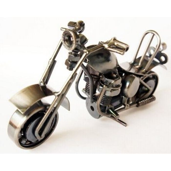 Onlineshoppee Miniature Showpiece Figurine Handmade Metal Motorcycle Size-6x2.5x4 Inch